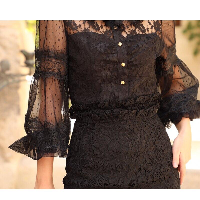 Gasa De Verano Ver Out Vintage Camisas Negro A Lynette's Shirt Encaje Mujeres Hollow Patchwork Chinoiserie Sexy Malla Través gqOw8O