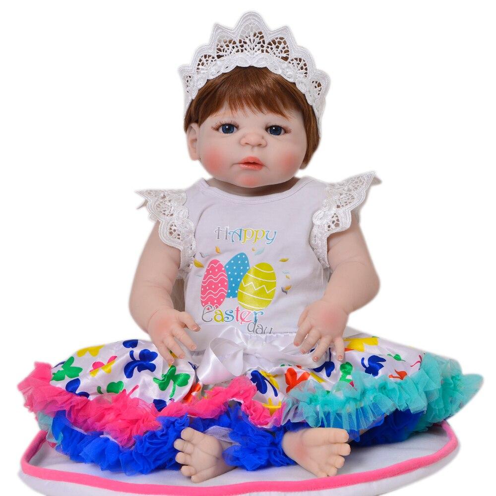 купить KEIUMI 23 Inch Baby Doll Toys Realistic Princess Full Body Silicone Reborn Baby Girl Dolls 57 cm Kids Playmates 2018 XMAS Gifts по цене 4188.65 рублей