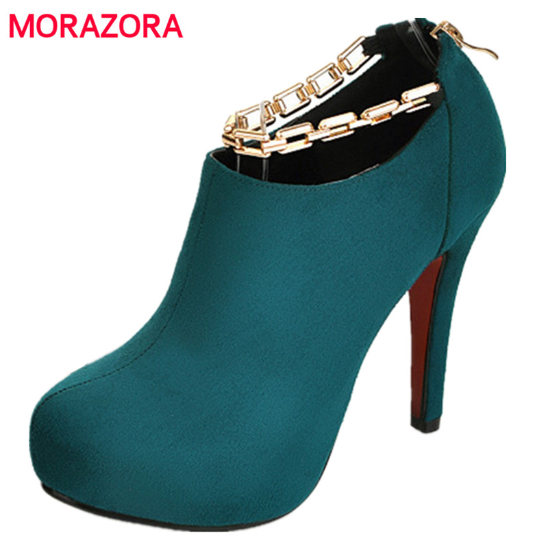 MORAZORA 2019 Autumn new Hot retro luxury women s ankle boots women casual high heels boots