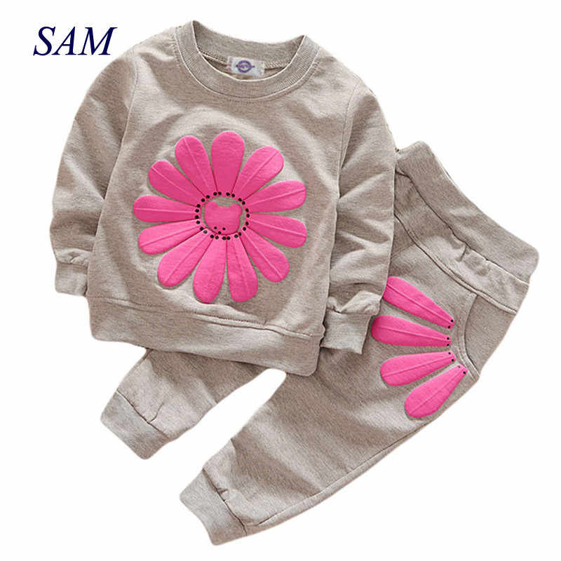 2019 Spring and Autumn New Girls Flower Set Korean version of the child sun flower long sleeve suit 2 sets