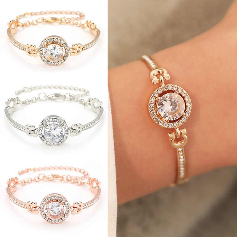 Fashion Luxury Rhinestone  Zircon Multi-Layer Bangle Bracelet High Quality Rhinestone Charm Bracelet for Women Girls Gift