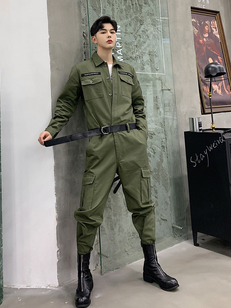 Men's Clothing New Male Long Sleeve Overalls Jumpsuit Harem Trousers Men Vintage Fashion Streetwear Hip Hop Casual Jumpsuit Cargo Pant