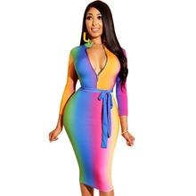 Big Size S-XXXL Rainbow Tie-Dye Print Sexy Bandage Dress Women V Neck Long Sleeve Bodycon Dress Casual Pencil Party Dresses long sleeve tie dye dress