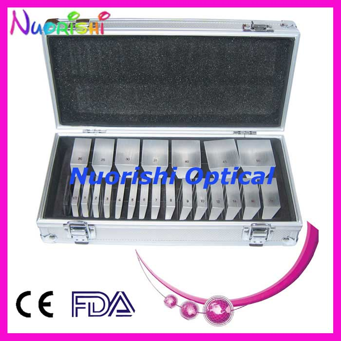 LS22 Ophthalmic Optical Optometry Glass K9 Loose Prism Bars Kit Set Aluminum Case Packed  Free Shipping