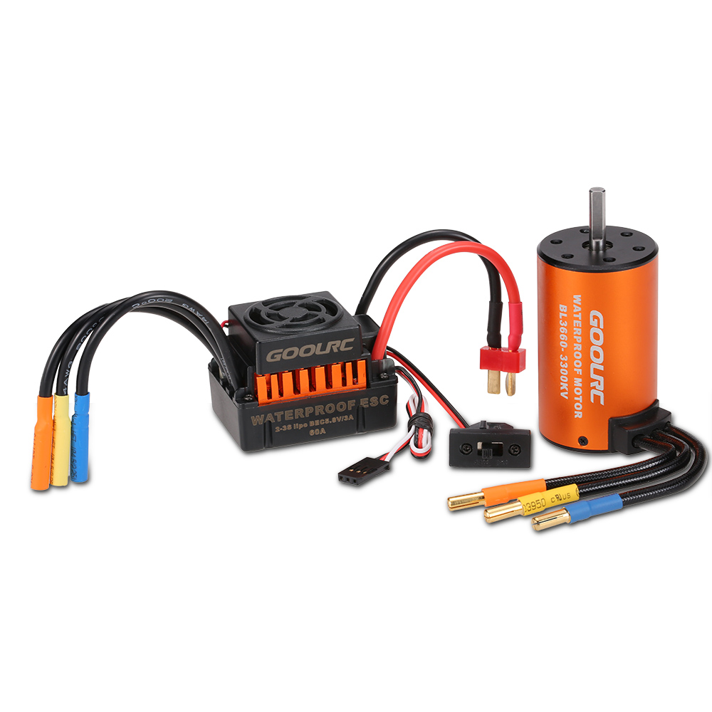 GoolRC Upgrade Waterproof 3660 3300KV Brushless Motor with 60A ESC Combo Set for 1 10 RC