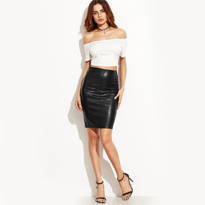COLROVIE PU Leather Bodycon Woman Skirts 2017 Female Sexy Clothing Autumn Winter Punk High Street Stylish Black Midi Skirt 10