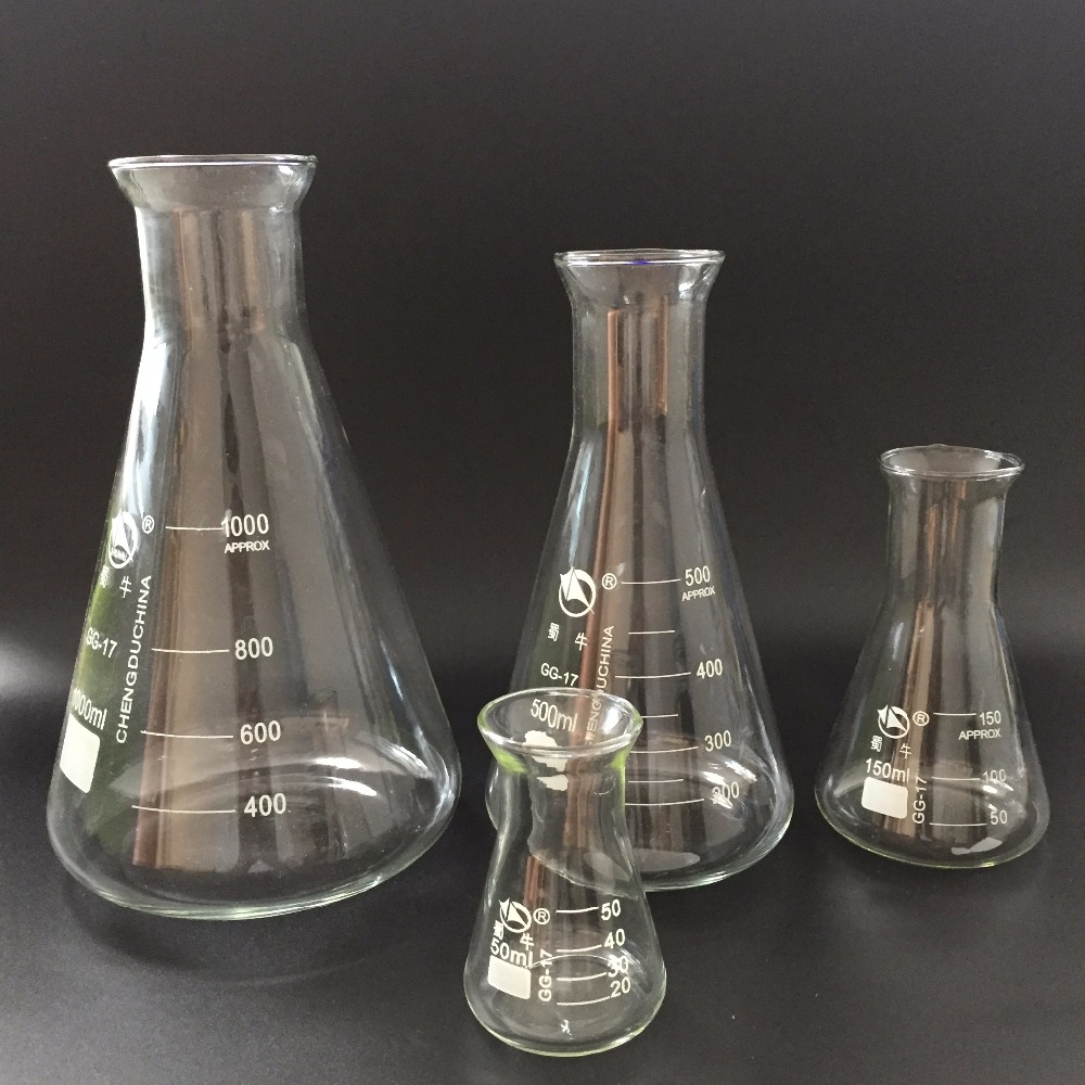 1pc high quality triangle glass flask conical flask Erlenmeyer Flask labratory equipment freeshiping conical iodine quartz flask with stooper triangle quartz flask