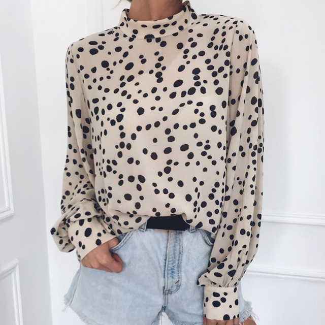 Chiffon Women Blouses High Quality Fashion Leopard Girls Shirts Long Sleeve Turtleneck Tops