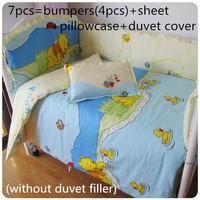 Discount! 6/7pcs Cotton Baby Crib Bedding Set Cartoon Crib Bedding Duvet Cover Pillow Bumpers Baby Sheet ,120*60/120*70cm
