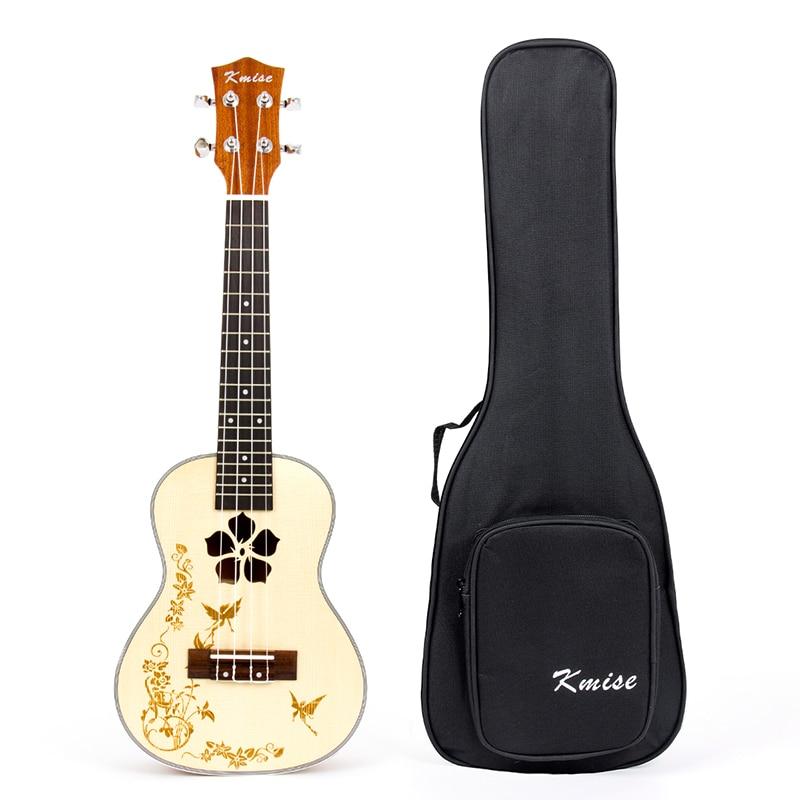 Kmise Ukulele Concert Solid Spruce Ukelele Uke 4 String Hawaii Guitar Mahogany 18 Fret With Gig Bag