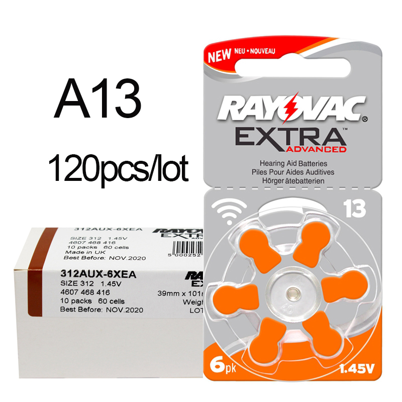 120 PCS RAYOVAC EXTRA Zinc Air Performance Hearing Aid Batteries A13 13A 13 P13 PR48 Hearing