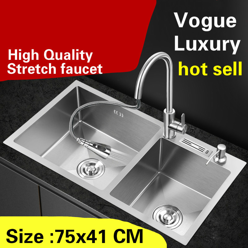 Free shipping Apartment wash vegetables kitchen manual sink double groove stretch faucet 304 stainless steel hot sell 75x41 CMFree shipping Apartment wash vegetables kitchen manual sink double groove stretch faucet 304 stainless steel hot sell 75x41 CM