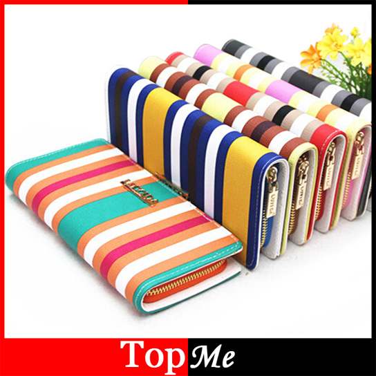 Fashion Women Zipper Wallets Cards Holder Colorful Strips Lady Purses Moneybags Coin Purse Wristlet Wallet Long Handbags Burse marilyn monroe character women wallets lady purses handbags coin purse long clutch moneybags blue wallet cards holder burse bags