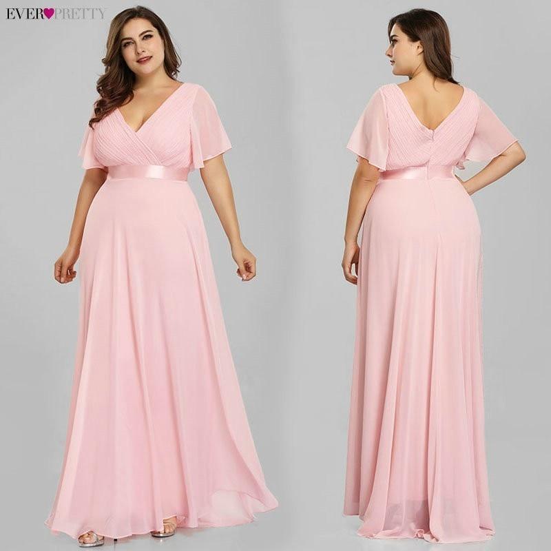 Grande taille robes de soirée jamais jolie col en v Nay bleu élégant a-ligne mousseline de soie longues robes de soirée 2019 manches courtes robes d'occasion - 4