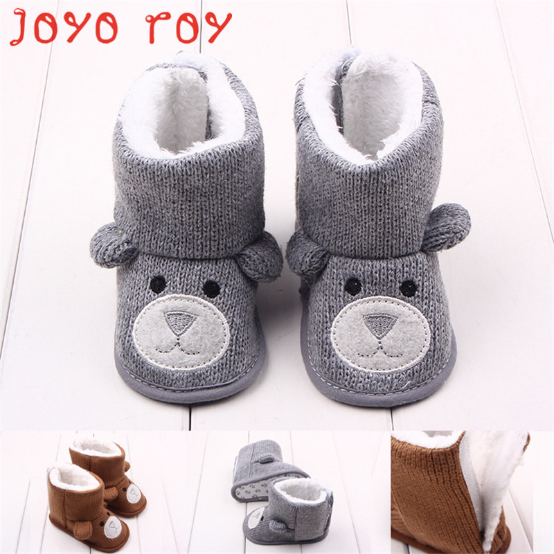 Joyo Roy Autumn And Winter Models Bear Knitted And Velvet Baby Cotton Boots Toddler Shoes Baby Shoes 0-2 Years Old Dj0120R