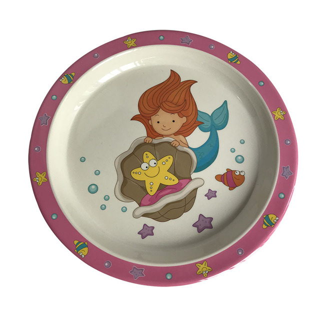 Baby Feeding Set Bamboo Fiber Children Tableware Baby Dishes BPA Free Kids Dinnerware Plate Bowl Cup Toddlers Dishes
