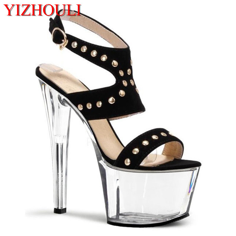 High-heeled sexy transparent stage show sandals,17 cm, nightclub pole dancing shoesHigh-heeled sexy transparent stage show sandals,17 cm, nightclub pole dancing shoes