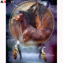 5D DIY Horse Full Diamond Painting Animal Needlework Embroidery Cross Stitch Round Rhinestone Decor Crafts Art LK1(China)