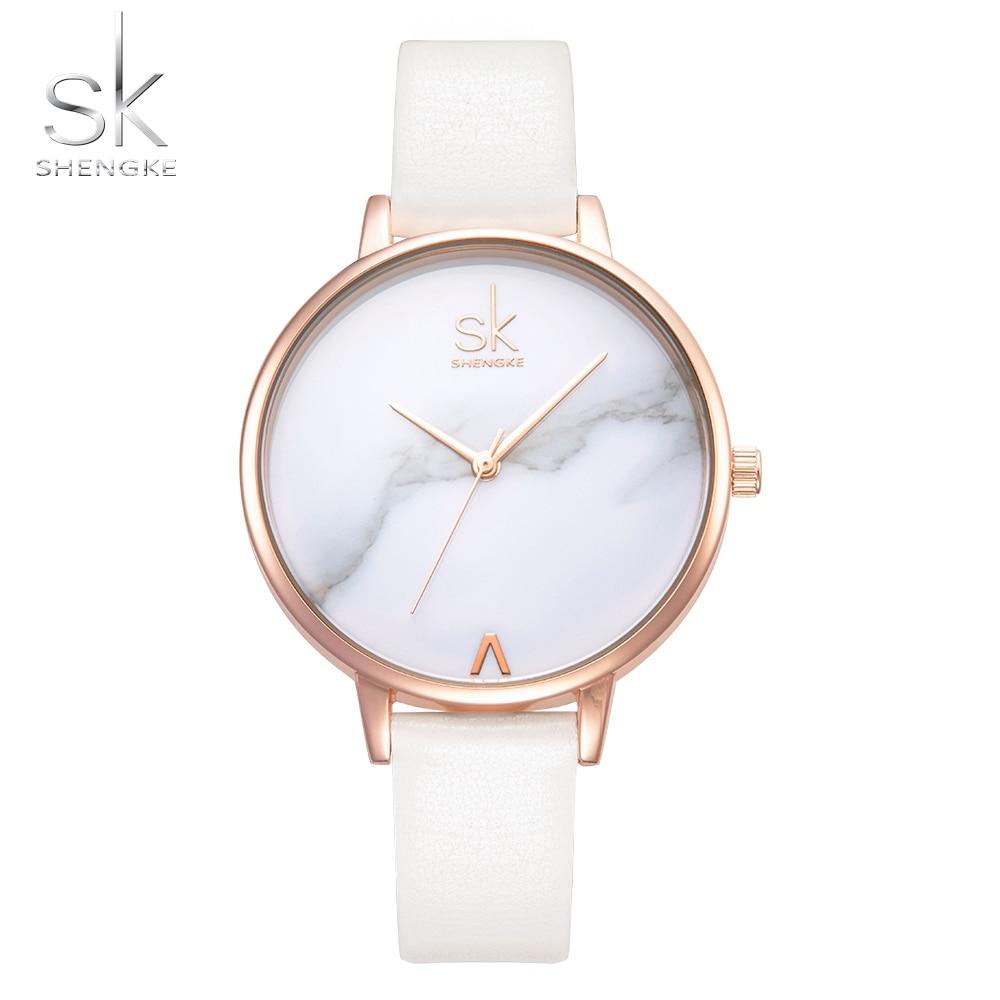 Shengke Top Brand Fashion Dames Horloges Lederen Vrouwelijke Quartz Horloge Vrouwen Dunne Toevallige Band Horloge Reloj Mujer Marmer Wijzerplaat SK
