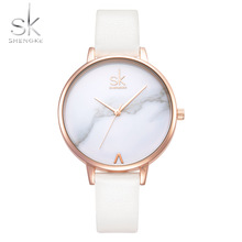Shengke Top Brand Fashion Ladies Klockor Läder Kvinnor Quartz Watch Kvinnor Tunna Casual Strap Watch Reloj Mujer Marmor Dial SK