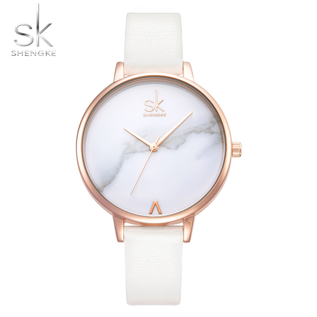 Shengke Top Brand Fashion Ladies Watches Leather Female Quartz Watch Women Thin