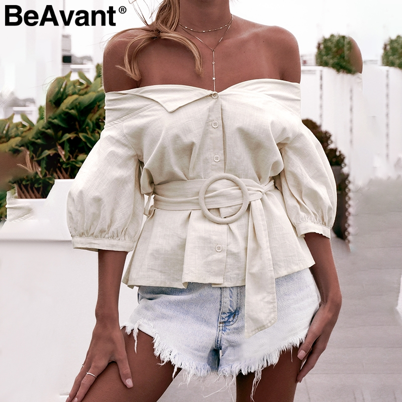 BeAvant Off shoulder sexy women blouse shirt Vintage lantern sleeve cotton blouse female Casual button sash ladies blouse blusas