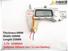 10pcs [SD] 3.7V,450mAH,[403035] Polymer lithium ion / Li-ion battery for TOY,POWER BANK,GPS,mp3,mp4,cell phone,speaker