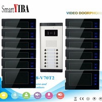 SmartYIBA 12 Units Apartment Intercom System Video Door Phone Door Intercom Aluminum Alloy Camera 7Inch Monitor Video Doorbell