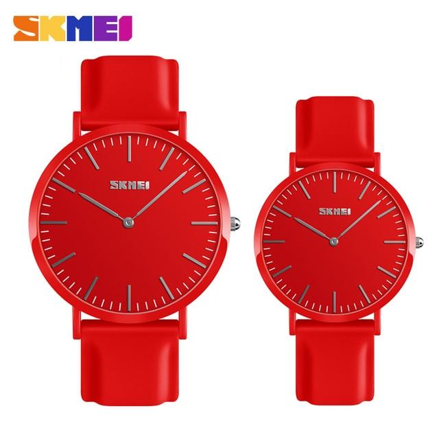 SKMEI Couple Lovers Quartz Watch Ultra thin Lover's Watches Women Man Clock Relo
