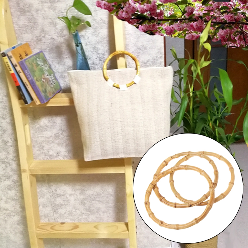 1 x Round Bamboo Bag Handle for Handcrafted Handbag DIY Bags Accessories