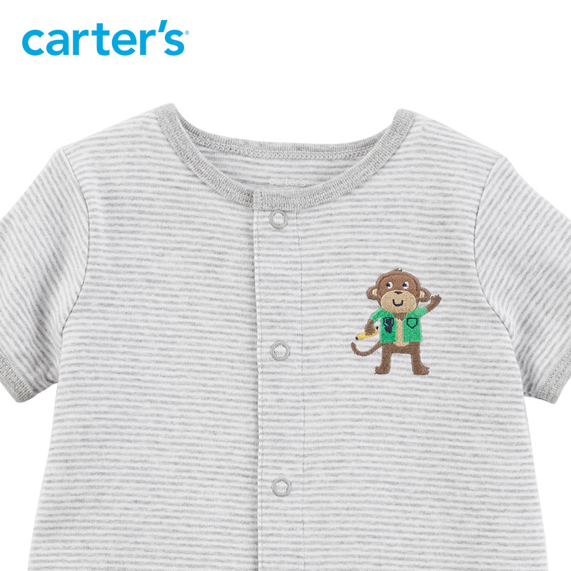 a38581960 1pcs stripes embroidered monkey Snap Up Cotton Romper Carter s baby ...