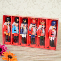 nutcracker Soldier puppet [factory direct] 12CM small genuine hand painted walnut clip set 6PCS/ box