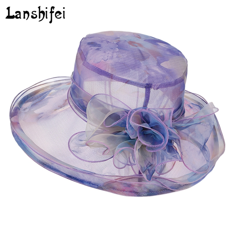 fashion colorful flowers hat lady girls wide large brim