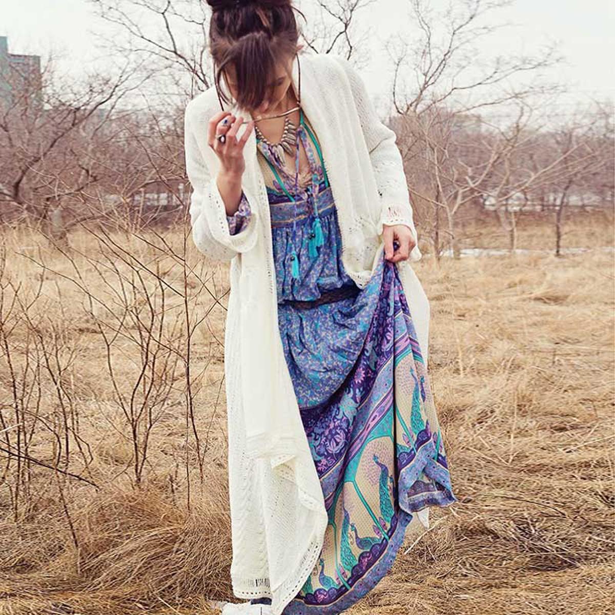 Col en v bohème paon imprimé Floral à manches longues robe femmes automne gland longue gitane Chic Boho robe Vestidos