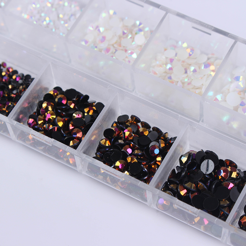 1 Box Black White Mixed Jelly Rhinestones 3D Nail Decoration With Dotting Pen Manicure DIY Nail Art Decoration Set aleph
