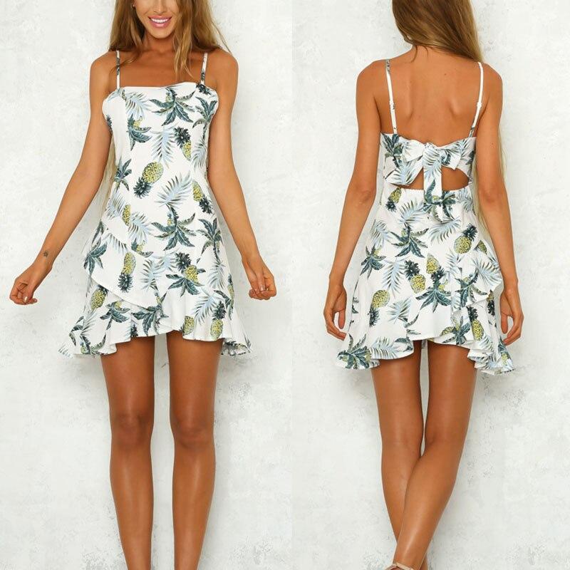 Women Lady Harness Dress Sleeveless Pineapple Pattern Printing Fashion Sexy Summer Clothing H9