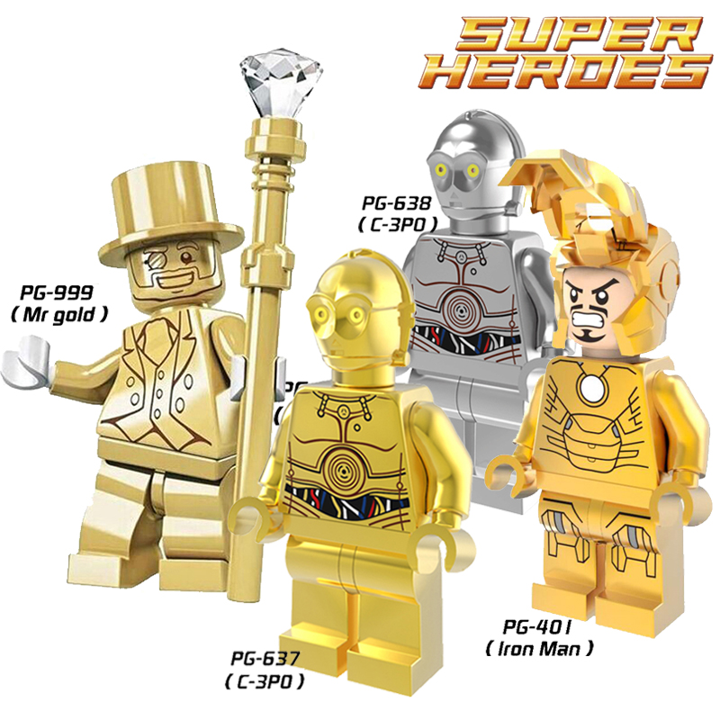 Toys & Hobbies 1pcs Pg638 Building Blocks C3po Chrom Silver Assemble Figures Limited Edition Collection Toys Kids Gift Blocks