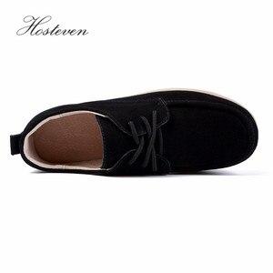 Image 5 - Hosteven femmes chaussures Sneakers mocassins plats plate forme vache daim cuir printemps automne dames mocassins femme chaussure