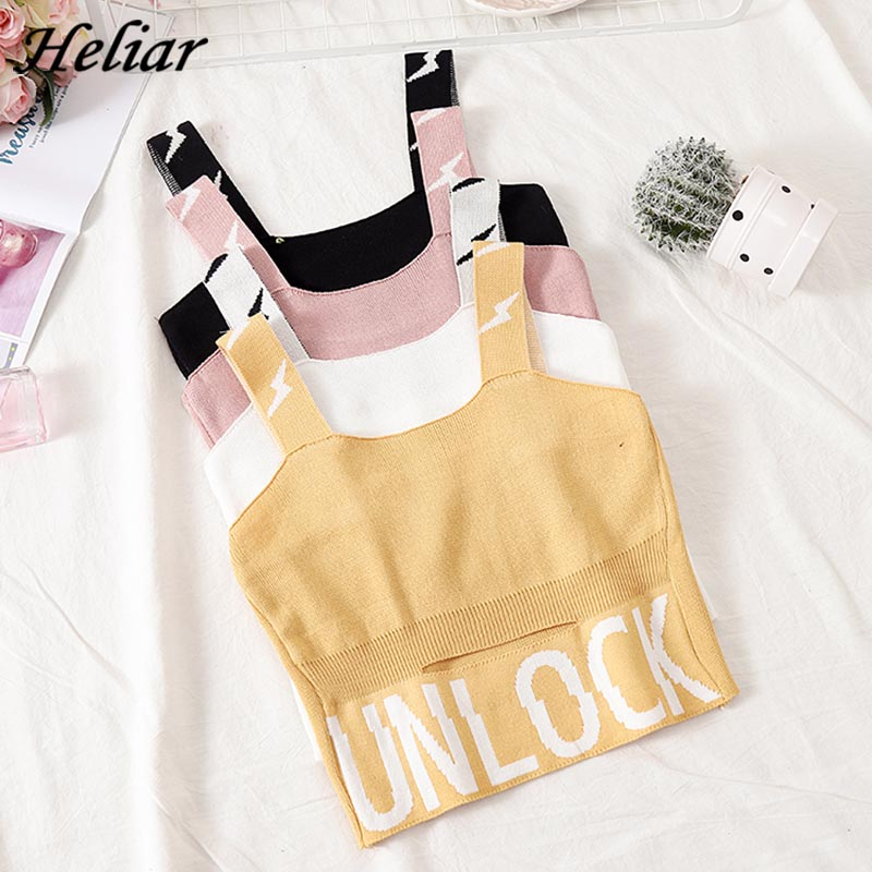 HELIAR Female Camisole Knitting Camis Crop Top Letter UNLOCK Cotton Camisole Femme Camis With Hole Women 2019 Summer Tank Tops-in Camis from Women's Clothing
