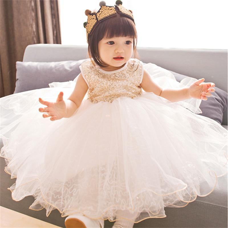 Kids Dresses for Girls Princess Dress Summer Sleeveless Ball Gown Elegence Champagne Baby Dress