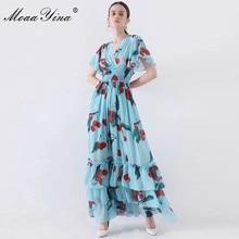MoaaYina 패션 디자이너 런웨이 드레스 봄 여름 여성 드레스 v 목 신축성 허리 과일 꽃 프린트 프릴 드레스