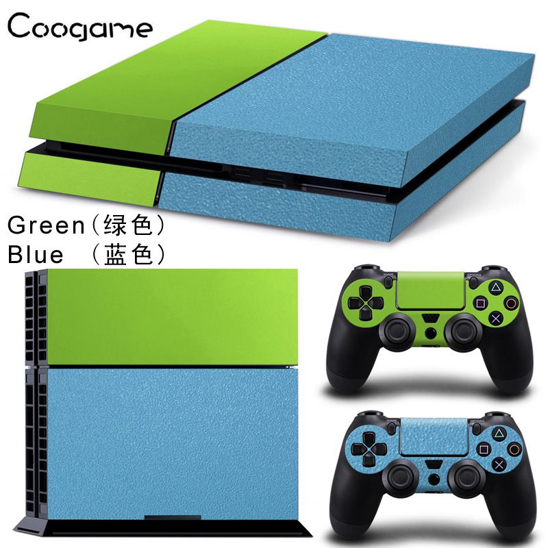 Mix 9 Colors Custom Leather Skins Sticker For Sony Playstation 4 Console & 2 Pads For PS 4 Controller Protector Decal