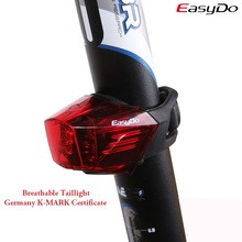 EASYDO USB Chargeable Bicycle Laser Tail Light Germany K-MARK Certificate Bike Cycling Rear Warning Breathable Seatpost LED Lamp