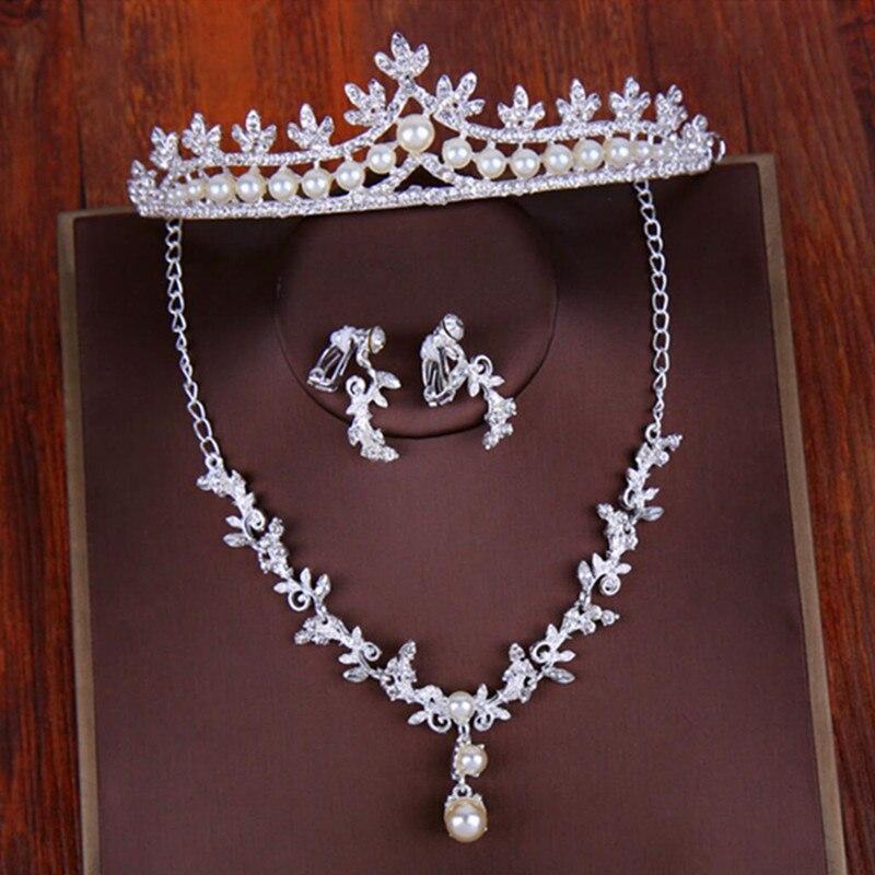 2018 дешевые бриллиантовый жемчуг Для женщин украшения для волос набор серьги Цепочки и  ...