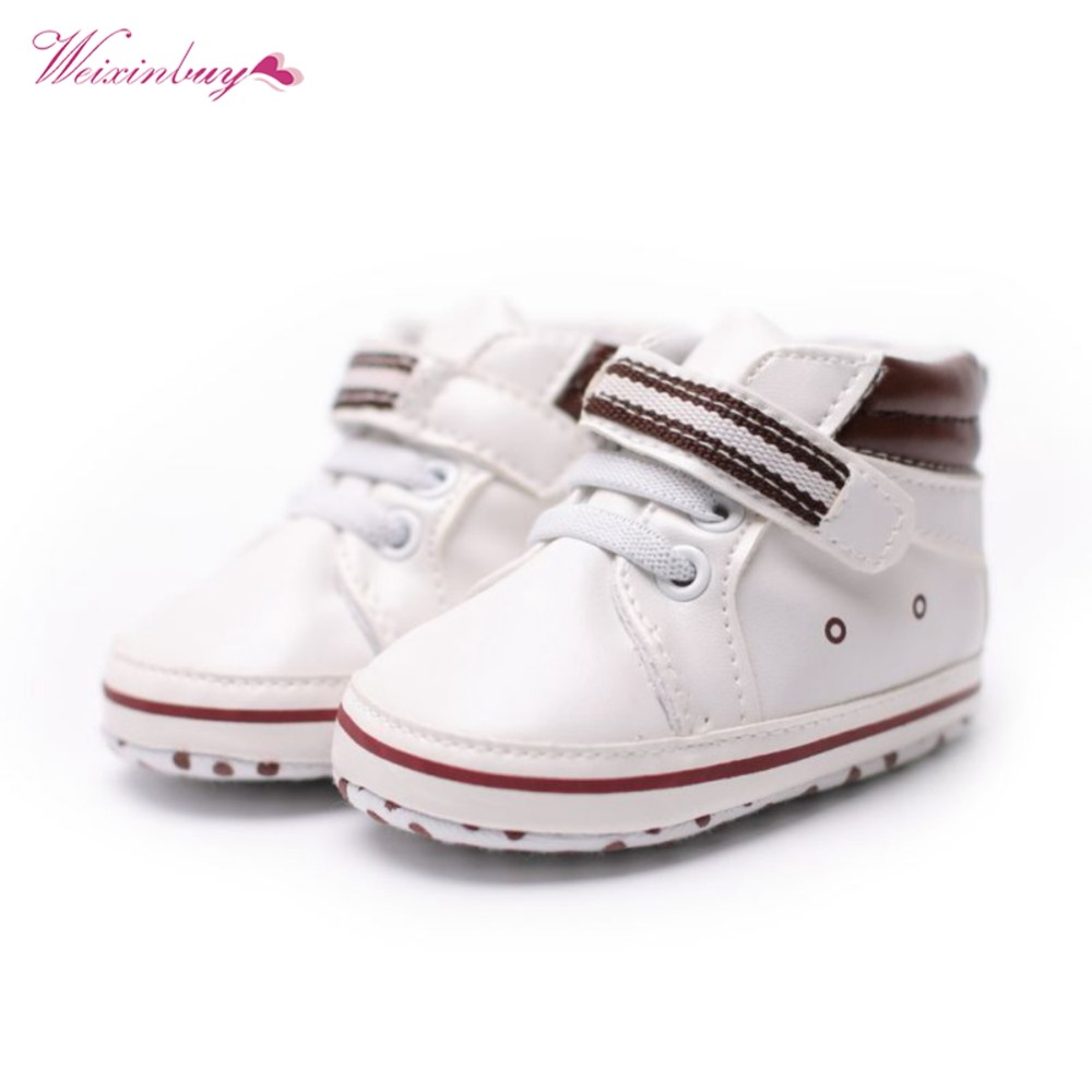 Baby Boy Girl Shoes First Walker Spring&Autumn Solid Patch PU Leather Hook&Loop First Walker Baby 0-18M