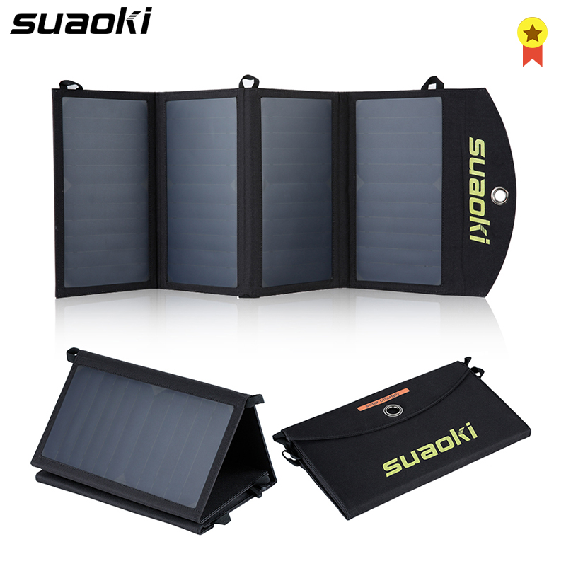 Suaoki 25W Solar Panels Portable Folding Foldable Waterproof Dual 5V 2 1A USB Solar Panel Charger