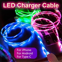 LED Luminous Micro USB Type C Charging Cable For Iphone X 8 Huawei Honor 9 Lite Xiaomi Redmi Note 5 5A Cell Phone Charger Cabel cheap XCEOENM LIGHTNING TYPE-C 2 4A USB A Luminous Charging Cable - Flowing Current Charge Data Sync Blue Green Hot Pink tpe cable pure copper wire