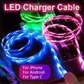 Светодиодный светящийся Micro USB Type C зарядный кабель для Iphone X 8 Huawei Honor 9 Lite Xiaomi Redmi Note 5/5A зарядное устройство для сотового телефона Cabel