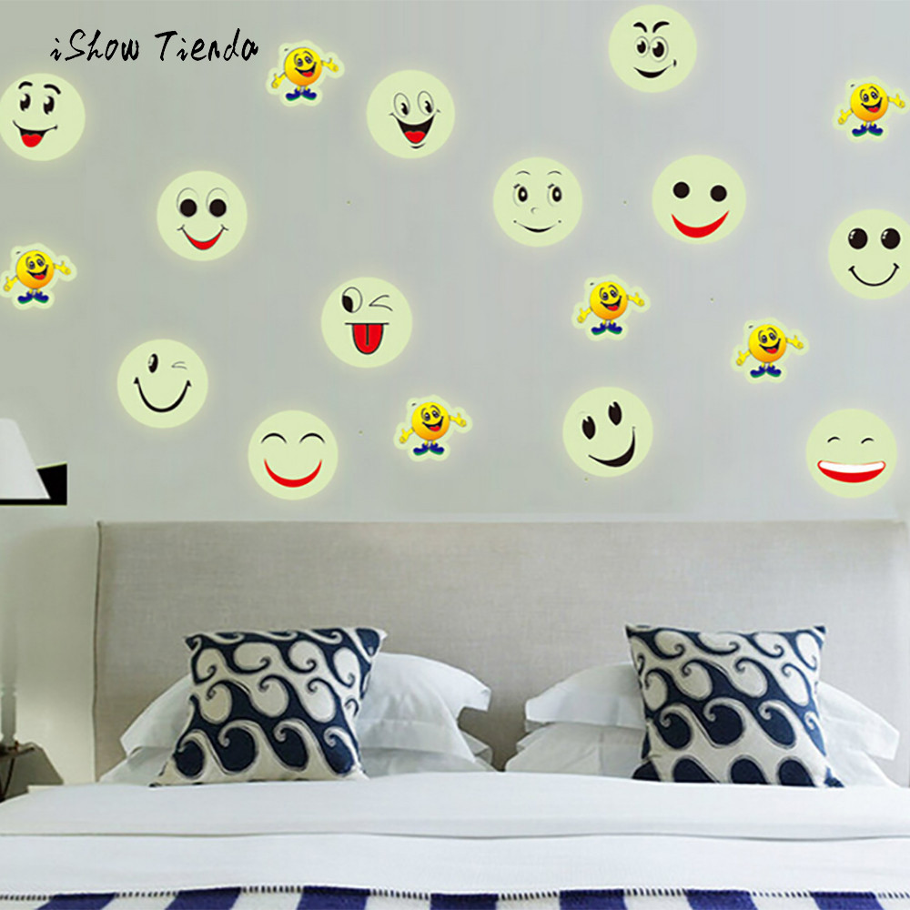 New Cute Smiling Face Wall Stickers Glow In The Dark Luminous Fluorescent PVC Wall Stickers Emoji Smiley Face For Kids Room