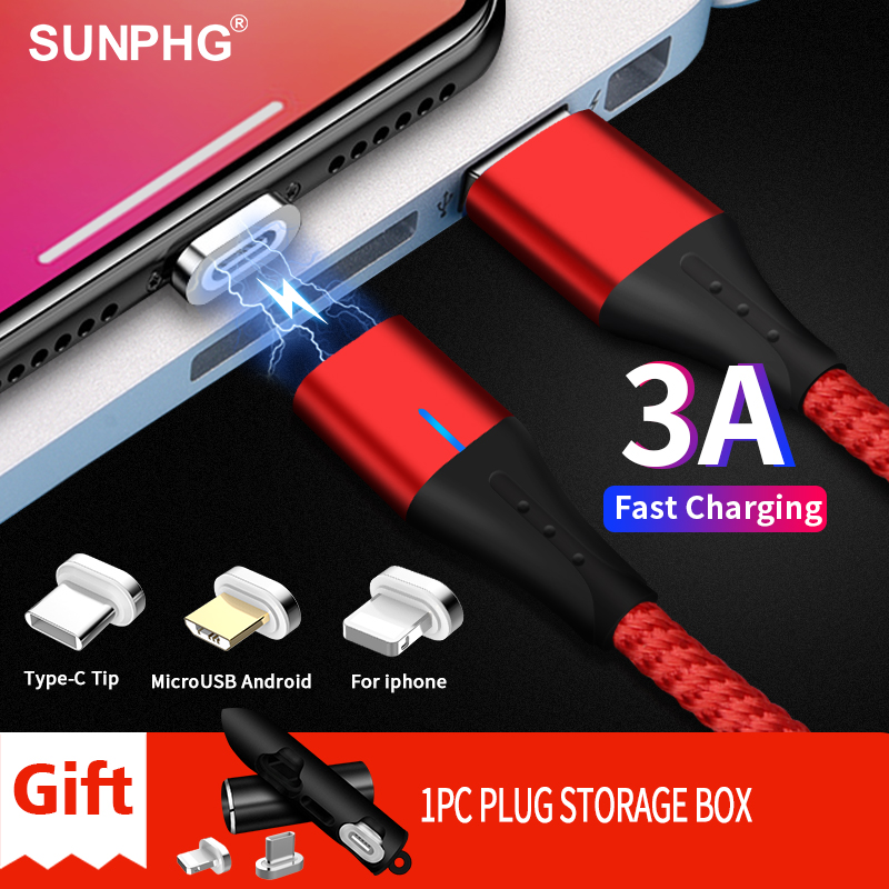 SUNPHG Mobile Phone 3A Magnetic Cable Charger 2m Micro USB Fast Charging Type C Data Cable for iPhone Lightning xs xr Samsung S9